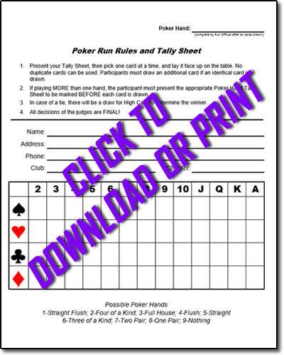 How To Have A Poker Run & Poker Run Sheets - CycleFish.com