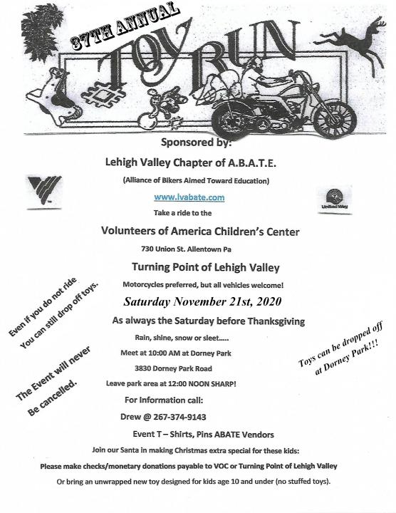 Lehigh Valley ABATE Toy Run - CycleFish.com