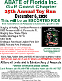 ABATE of Florida Inc Gulf Coast Chapter 25th Annual Toy Run